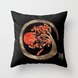 Zen Enso Circle and Golden Sakura Tree Throw Pillow