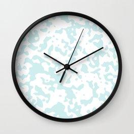 Spots - White and Light Cyan Wall Clock
