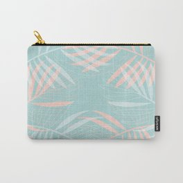 Palm Leaves Lace on Aqua Carry-All Pouch