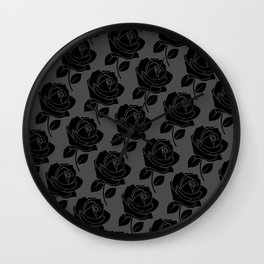 Black Rose Pattern on Grey Wall Clock