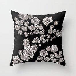 sempervivum on black background Throw Pillow