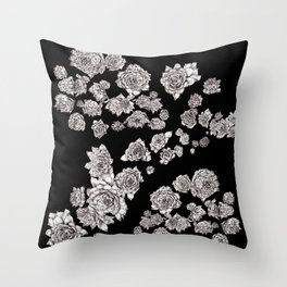 sempervivum on black background Throw Pillow