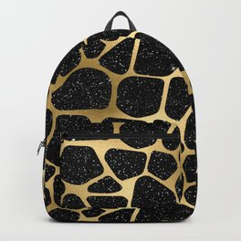 Glam Black and Gold Giraffe Print Backpack