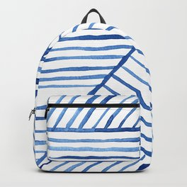 Abstract geometric blue stripes watercolor print Backpack