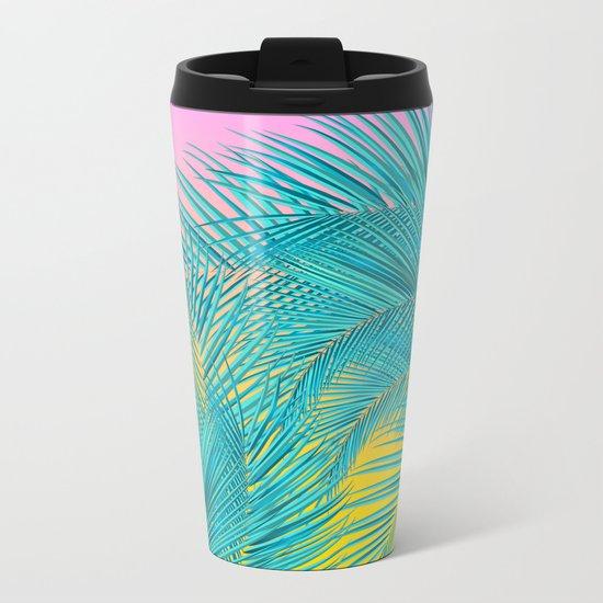 Summer Palm Leaves Metal Travel Mug