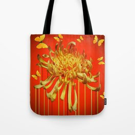 SURREAL YELLOW SPIDER MUM & BUTTERFLIES ORANGE ART Tote Bag