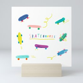 skateboard kids Mini Art Print