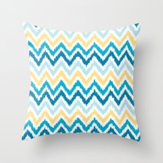 Blue Yellow Zigzag Pattern Throw Pillow