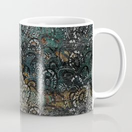 Burned Color  Paisley Pattern on  Wood Coffee Mug