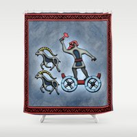 thor Shower Curtains featuring Thor by Thor Ewing