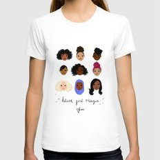 Black Girl Magic (looks) White X-LARGE Womens Fitted Tee
