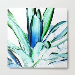 Green Blue Aloe Leaves Abstract Metal Print