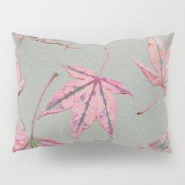 Japanese maple leaves - apricot on light khaki green Pillow Sham