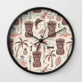 Tropical Tiki - Cream Pink Wall Clock