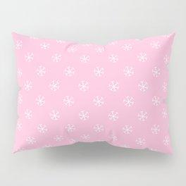 White on Cotton Candy Pink Snowflakes Pillow Sham