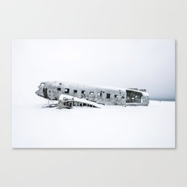 Plane Wreck in Iceland in Winter - Landscape Photography Minimalism Canvas Print