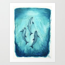 """""""Song of the Vaquita"""" by Amber Marine ~ Watercolor Painting, (Copyright 2015) Art Print"""