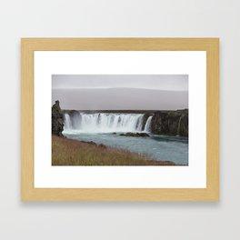 Godafoss waterfall in Iceland - nature lanscape Framed Art Print