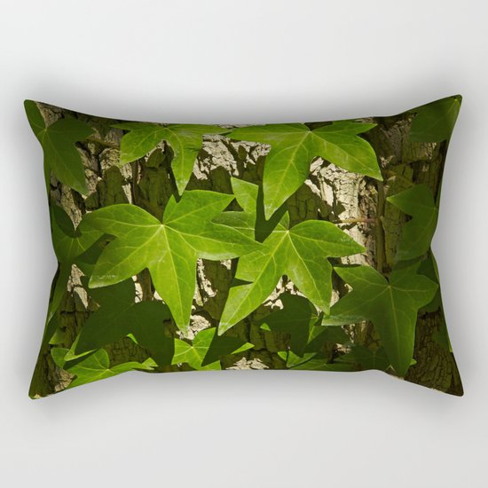 Sunny ivy leafs on a tree bark Rectangular Pillow