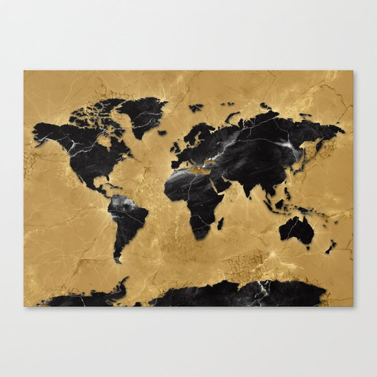 world map marble gold 2 Canvas Print