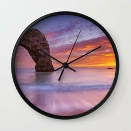 Durdle Door rock arch in Southern England at sunset Wall Clock