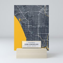 Los Angeles California with GPS Coordinates Mini Art Print