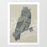 king Art Prints featuring Owl King by Rachel Caldwell