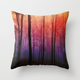 Whispering Woods, Colorful Landscape Art Throw Pillow