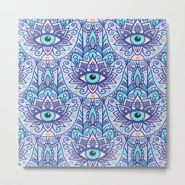 Amulet and paisley - teal azure Metal Print