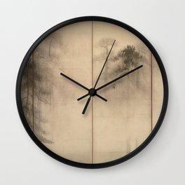 Pine Trees Six-Fold Azuchi-Momoyama Period Japanese Screen - Hasegawa Tohaku Wall Clock