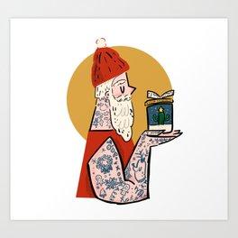 Hipster Santa Art Print