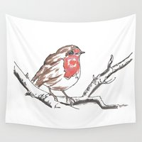 robin Wall Tapestries featuring Robin by Cat Milchard