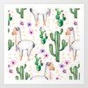Colorful pattern cactus and lamas pattern by artonwear