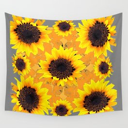 Golden Yellow Sunflower patterns Wall Tapestry