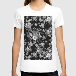 Black And White Floral Pattern T-shirt