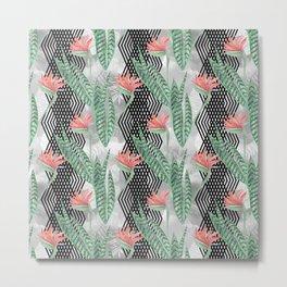 Tropical flowers on black decorative stripes. Metal Print