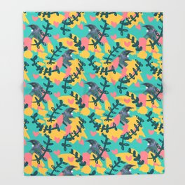 Blocky Tui Heart Print Throw Blanket