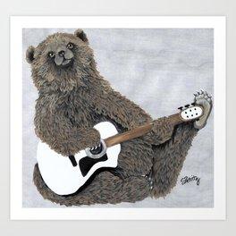 Guitar Bear Art Print