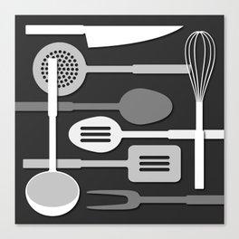 Kitchen Utensil Silhouettes Monochrome III Canvas Print