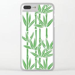Bamboo Rainfall in White/Sullivan Green Clear iPhone Case