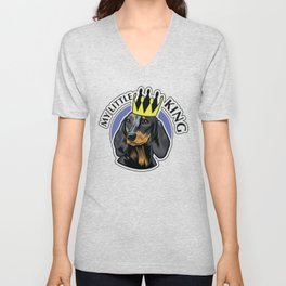 Black and tan dachshund head Unisex V-Neck