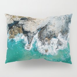Ocean Waves Crushing, Drone Photography, Aerial Landscape Photo, Large Printable Photography, Ocean Pillow Sham