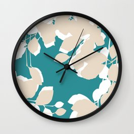 leves teal and tan Wall Clock