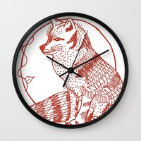 coasters Wall Clocks featuring Forest Lover's Fox by KimberlyVautrin
