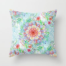 Messy Boho Floral in Rainbow Hues Throw Pillow