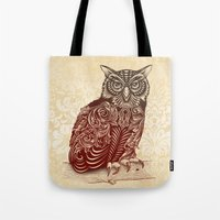 ornate Tote Bags featuring Most Ornate Owl by Rachel Caldwell