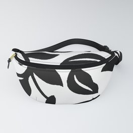 LEAF AND VINE SWIRL IN BLACK AND WHITE PATTERN Fanny Pack