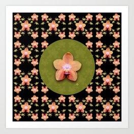Magenta Peach Phalaenopsis Orchid Pattern Art Print