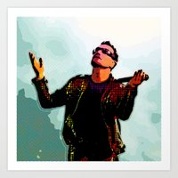 u2 Art Prints featuring U2 / Bono 2 by JR van Kampen