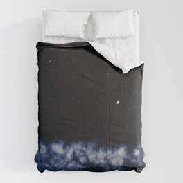 Contrail moon on a night sky Comforters